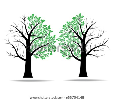 only half leaves on tree vector