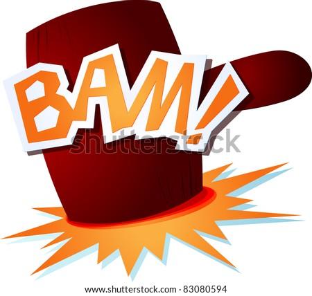 onomatopoeic sound with a funny hammer. Vector image
