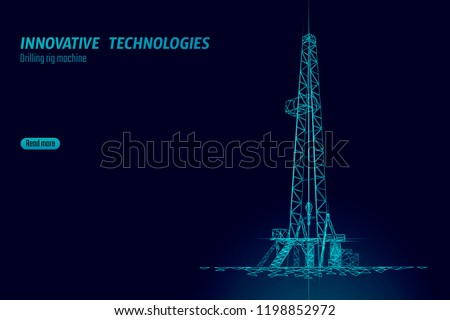 Onshore Oil Gas Drilling Rig. Raw material economy finance business concept. Petroleum industrial well machine ecology. Low poly glowing night silhouette 3D render polygonal vector illustration