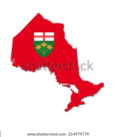 ontario map with flag