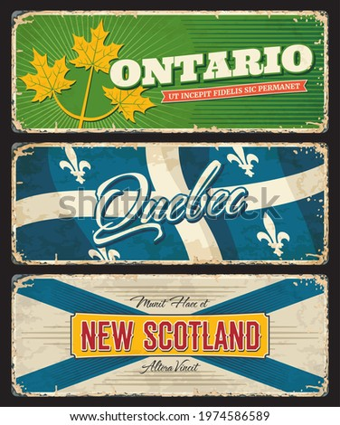 Ontario, Quebec and New Scotland Canada regions and provinces vector plates of Canadian flags and coat of arms. Vintage tin plates with gold maple leaves, heraldic fleur de lis, white and blue crosses Stock fotó ©