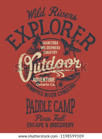Ontario rivers canoe camp adventure vector print for boy t shirt grunge effect in separate layer