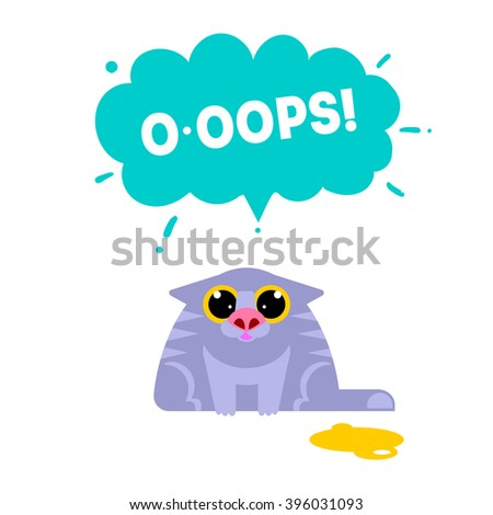oops card with cat isolated on