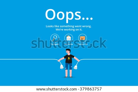 Oops 404 error page, vector template