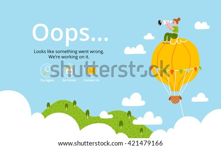 oops error page with hot air