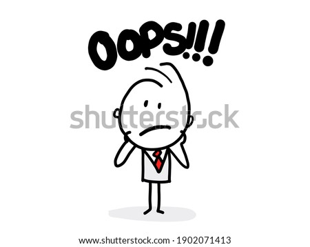 Oops. Sorry. I don't know. Young business man shrugs, shows helpless gesture and spread his hands, he does not know what to do. Foto stock ©