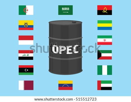 OPEC organization country members illustration. Oil barrel with countries flags