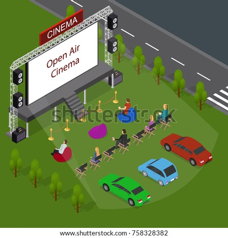 Shutterstock Open Air Cinema Concept 3d Isometric View Include of People, Car Outdoor Summer Night Leisure. Vector illustration of Movie Festival