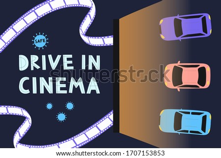 Open air cinema concept. Watching movies outdoors in the city parking lot  evening. Safe Cinema.  Flat vector illustration