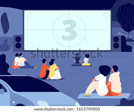 Open air cinema. Outdoor relax, car movie night. Friends rest backyard with snacks, screen. Dating couples watch movie vector illustration