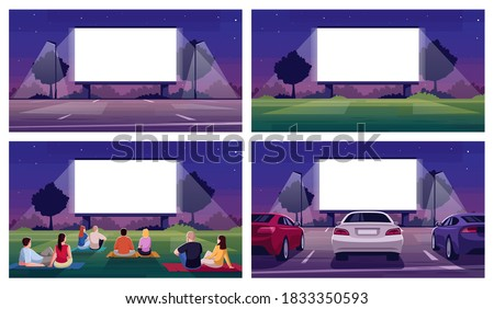 Open air cinema place semi flat vector illustration set. Large blank screen for film projection. Parking lot. Crowd watch movie. Urban movie festival 2D cartoon scenery for commercial use collection