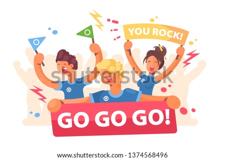 Open-air fans cheer for team vector illustration. People in sport scream and hold large poster go go go flat style design. Athletics club admiration concept