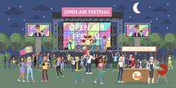 Open air festival at night with people and musicians.