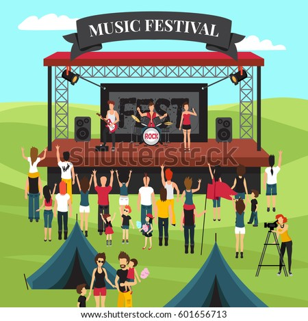 Open air festival background with summer suburban landscape rock band on stage crowd and camping park vector illustration