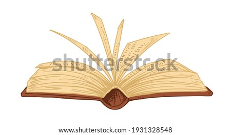 Open ancient book with old pages isolated on white background. Antique bible, textbook or encyclopedia with hardback. Colored hand-drawn vector illustration of historical literature in leather cover ストックフォト ©