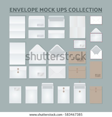 Open and Close Envelope mock ups set. Realistic Style Isolated Branding Sample Elements Collection. Collection of postal envelopes of various sizes and paper for letters.