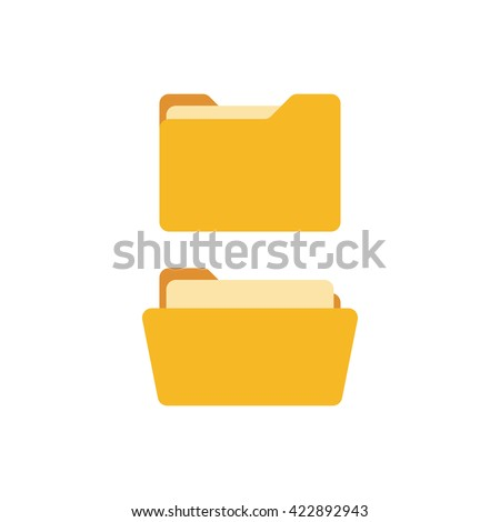 Open and close folders with documents. Folders icons isolated on white background. Folders set