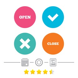 Open and Close icons. Check or Tick. Delete remove signs. Yes correct and cancel symbol. Calendar, cogwheel and report linear icons. Star vote ranking. Vector