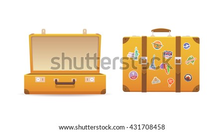 Open and close old suitcase on white isolated background. Luggage of the traveler. Flat vector illustration.