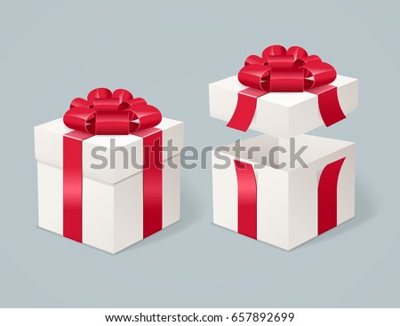 Open and Close Present Box on a Gray Background Symbol of Congratulations and Celebration. Vector illustration
