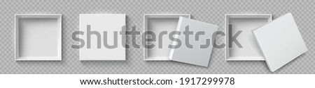 Open and close white gift boxes, white square box top view, container mockup, empty carton package, realistic paper box, open cap, empty packages mockup 3d isolated - stock vector Foto stock ©