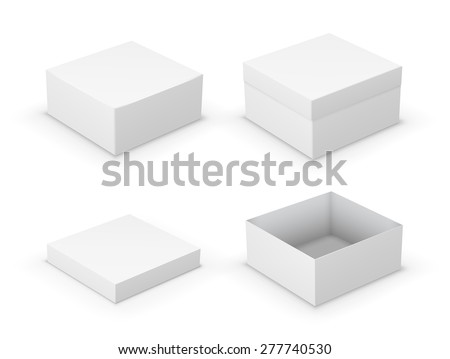 Open and closed boxes design collection. White objects on white background, vector illustration