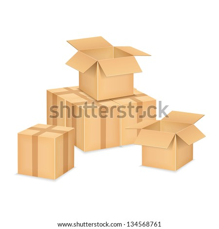 Open and closed brown cardboard boxes, vector eps10 illustration