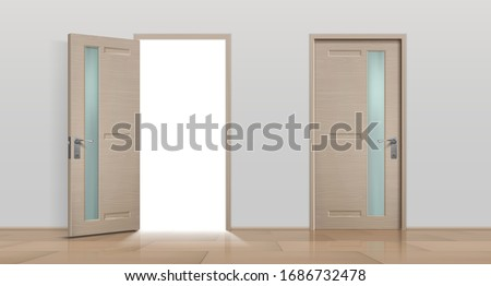 Open and closed doors. Realistic 3D white and brown home and office entry doors. Vector image different front apartment doors set isolated on white background