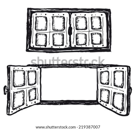 Window drawings download free vector art stock graphics images open and closed hand drawn windows set illustration of a set of doodle open and thecheapjerseys Gallery