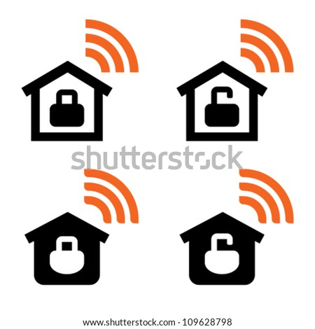 Open and closed home wireless network icons