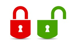 Open and closed padlock