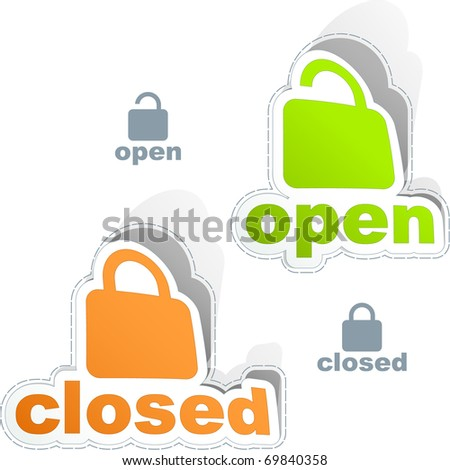Open and closed padlock sticker set.