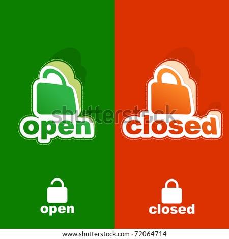 Open and closed padlock sticker set.