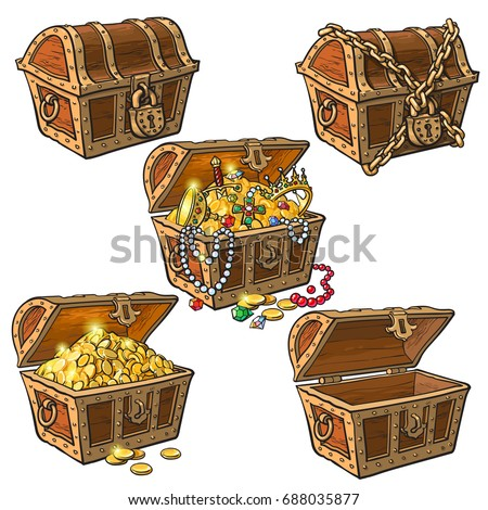 open and closed pirate treasure