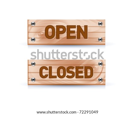 open and closed signs on white
