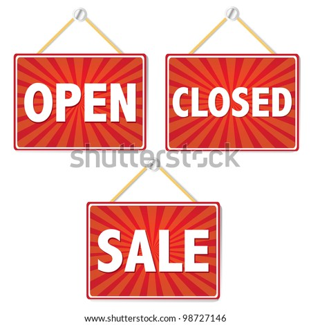 Open And Closed Signs, Vector Illustration