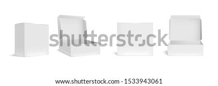 Open and closed white box mockup. Opened packaging boxes, empty rectangular package and realistic packages 3d vector illustration set. Square containers, paper packing isolated cliparts collection