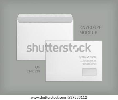 Open and closed white empty envelopes for letters and documents. Paper blank template with transparent window. Mockup post envelope C4 size. Vector illustration isolated on gray background.