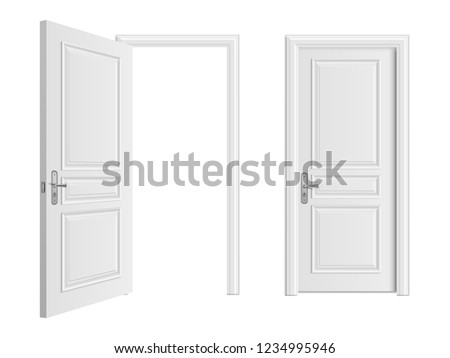 Open and closed white entrance realistic door isolated on white background