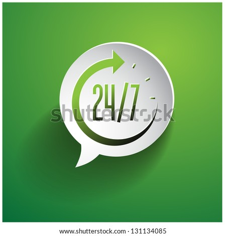 Open around the clock 24 hours a day icon isolated