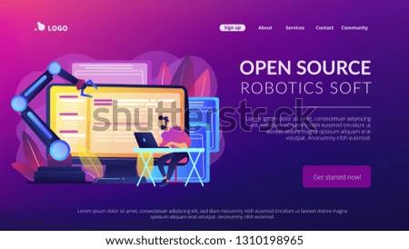 Open automation architecture, open source robotics soft, free development concept. Website vibrant violet landing web page template.