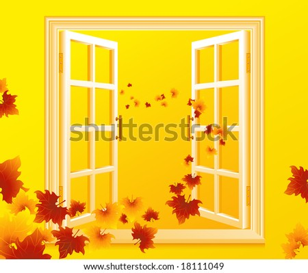 open autumnal window  vector
