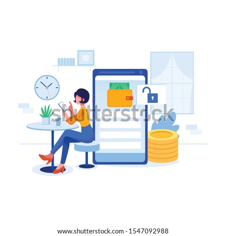Open bank account concept icon. Beautiful hipster girl with dark hair using apps on mobile phone while sitting in creating an bank account . Create Account, Profile, Transaction concept.