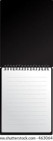 Open black notebook in lines