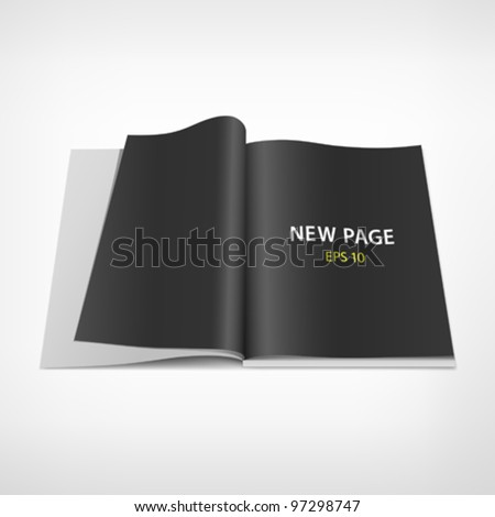 Open black page on book, vector illustration - stock vector