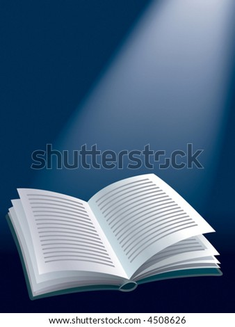 Open blank book with sunshine. vector