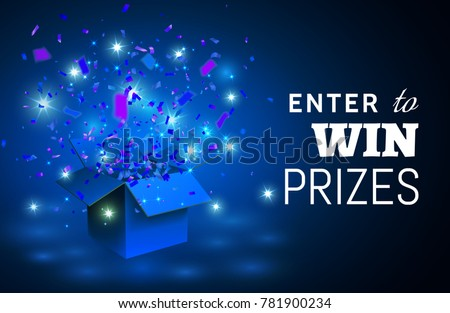 open blue gift box and confetti ...