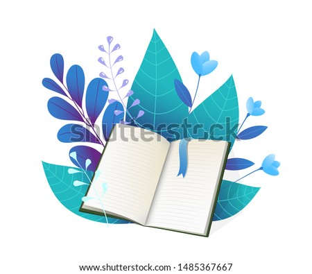 Open book and foliage flat vector illustration. Blue forest flora, blooming flowers, cherry and rowan leaves. Blank notebook, personal diary with bookmark. Textbook with leafage, education symbol