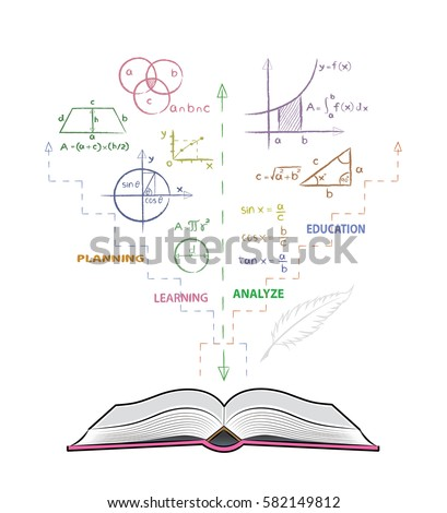 Open book and mathematical formulas. Drawing of mathematics on white board in doodle style. Concept for education.