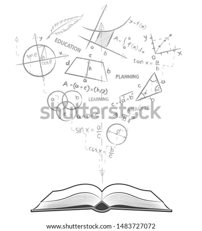 Open book and mathematical formulas. Theme of maths. Drawing on white background in doodle style. Back to school. Concept for education.